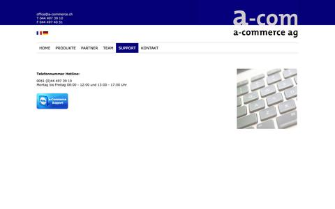 Screenshot of Support Page a-commerce.ch - Support und Download - captured June 11, 2016