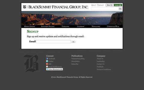 Screenshot of Signup Page blacksummitfg.com - Signup –  BlackSummit Financial Group - captured Oct. 5, 2014