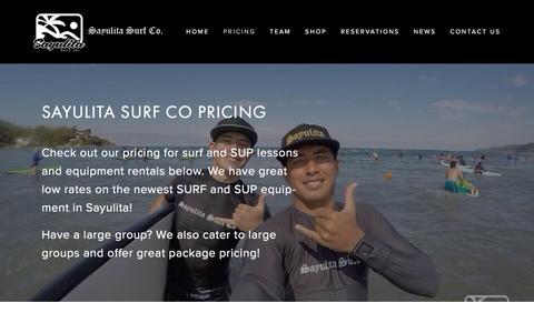 Screenshot of Pricing Page sayulitasurfco.com - Sayulita Surf Co Pricing — Sayulita Surf Co - captured March 13, 2016
