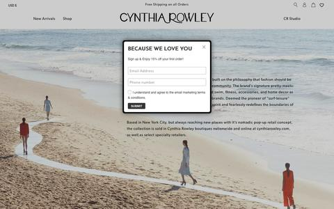 Screenshot of About Page cynthiarowley.com - About                      – Cynthia Rowley - captured July 21, 2019