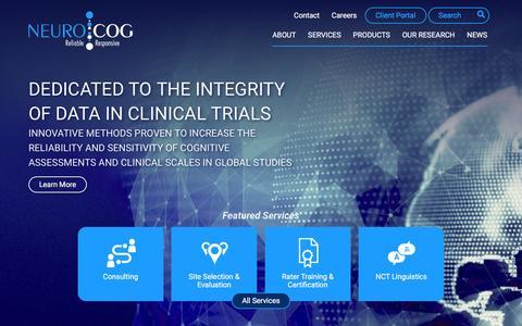 Screenshot of Home Page neurocogtrials.com - Reliable   Responsive - NeuroCog Trials - captured Feb. 23, 2016