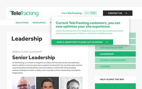 Screenshot of Team Page teletracking.com - Our Leadership | TeleTracking - captured July 16, 2018