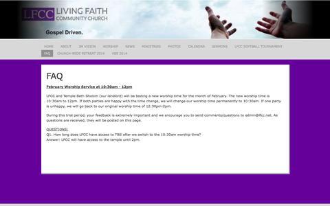 Screenshot of FAQ Page lfcc.net - Living Faith Community Church :: FAQ - captured Oct. 2, 2014