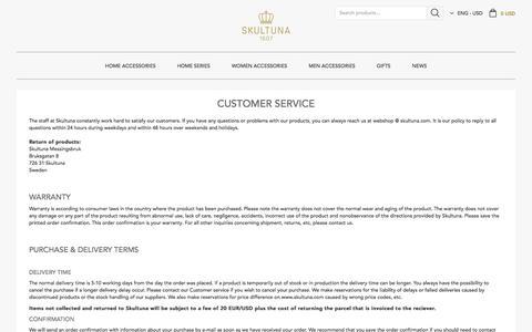Screenshot of Support Page skultuna.com - Customer Service I Skultuna 1607 - Global Online Store - captured Nov. 19, 2016