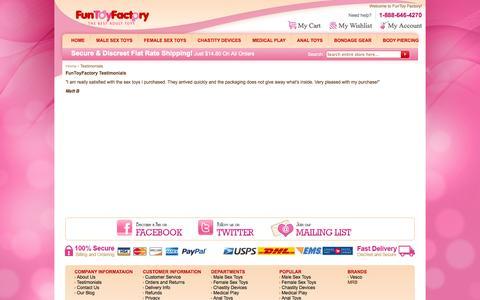 Screenshot of Testimonials Page funtoyfactory.com - Testimonials - captured Oct. 6, 2014