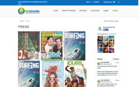 Screenshot of Press Page ecoguardian.co.nz - Press | Eco Guardian - captured Sept. 30, 2014