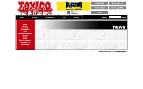 Screenshot of Press Page toxico.co.uk - Toxico Clothing, Tattoo, Punk, Hotrod & Metal Clothing & Accessories - captured Oct. 7, 2014