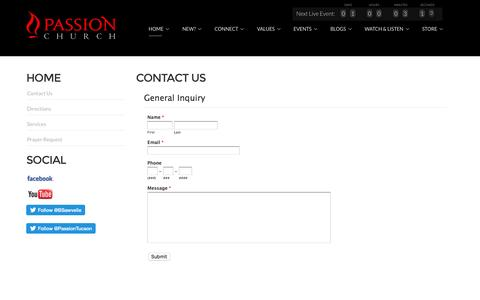 Screenshot of Contact Page passiontucson.org - Passion Church - Contact us - captured Oct. 26, 2016