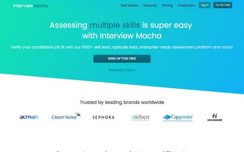 Screenshot of Home Page interviewmocha.com - #1 Online Assessment Software with 1,000+ Skill Tests: Interview Mocha - captured Nov. 30, 2017
