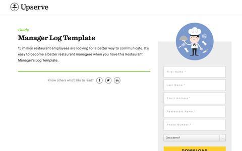 Screenshot of Landing Page upserve.com - Restaurant Manager's Log Template | Upserve - captured Dec. 30, 2017