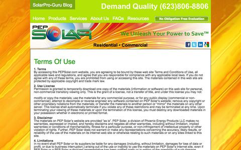 Screenshot of Terms Page pepsolar.com - PEP Solar | Best Solar Installer, terms of use - captured Oct. 2, 2014