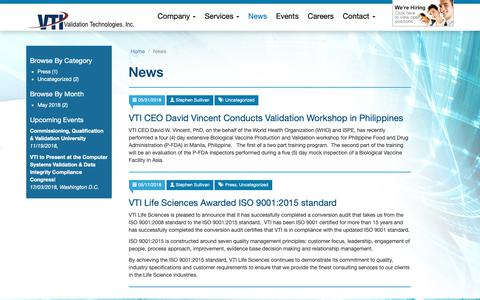 Screenshot of Press Page validation.org - News - Validation Technologies, Inc.Validation Technologies, Inc. - captured Oct. 18, 2018