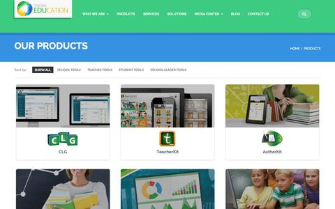Screenshot of Products Page itworx.education - Products - - captured Oct. 6, 2014