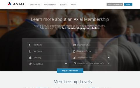 Screenshot of Landing Page axial.net - Learn more about an Axial Membership - captured March 1, 2017