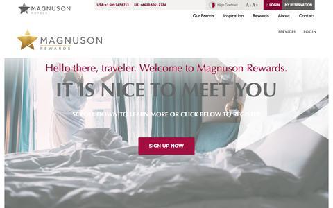 Screenshot of Login Page magnusonhotels.com - Magnuson Rewards Account Access ⋆ Magnuson Hotels - captured Sept. 24, 2018