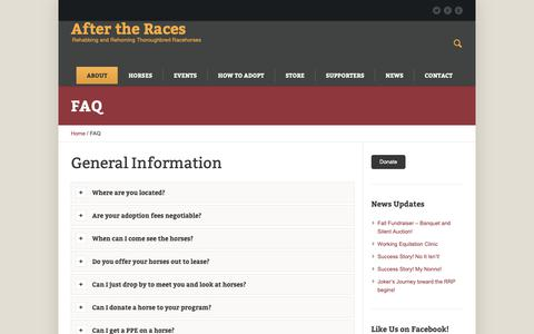 Screenshot of FAQ Page aftertheraces.org - FAQ - After the Races - captured Nov. 6, 2018