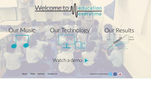 Screenshot of Home Page educationeverytime.com - Classroom Music for Classroom Management - captured Sept. 16, 2014