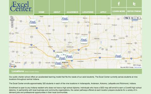 Screenshot of Contact Page Locations Page excelcenter.org - Indianapolis IN Public Charter School | 46205 | 46222 | 46241 - captured Oct. 25, 2014
