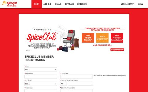 Screenshot of Signup Page spicejet.com - Cheap Air Tickets Online, International Flights to India, Cheap International Flight Deals | SpiceJet Airlines - captured Sept. 21, 2018