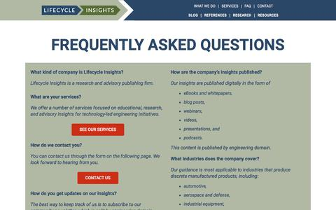 Screenshot of FAQ Page lifecycleinsights.com - Frequently Asked Questions » Lifecycle Insights - captured July 20, 2018