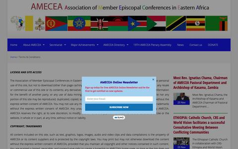 Screenshot of Terms Page amecea.org - Terms & Conditions – AMECEA - captured Dec. 3, 2018