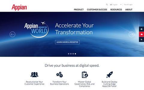 Screenshot of Home Page appian.com - Business Process Management (BPM) Software Solutions | Appian - captured Aug. 31, 2016