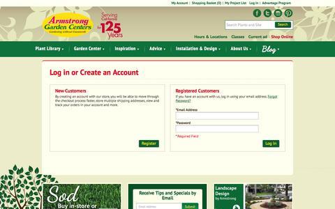 Screenshot of Login Page armstronggarden.com - Customer Login - captured Sept. 19, 2014