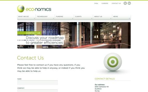 Screenshot of Contact Page eco-nomics.co.uk - Eco-Nomics | Helping you reduce operating costs and energy consumption - captured Jan. 25, 2016