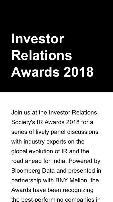 Investor Relations Awards 2018 - registration