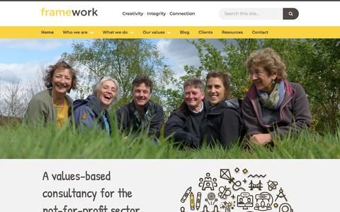Screenshot of Home Page framework.org.uk - Framework | Values based consultancy for the not for profit sector - captured Aug. 17, 2018