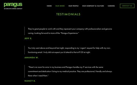 Screenshot of Testimonials Page paragusit.com - Testimonials - Paragus | Strategic I.T. - captured Feb. 17, 2019