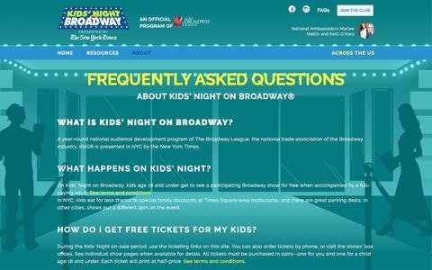 Screenshot of FAQ Page kidsnightonbroadway.com - FAQ for Kids Night on Broadway - captured June 4, 2016
