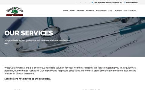Screenshot of Services Page westoaksurgentcare.net - Our Services - West Oaks Urgent Care Center - captured July 11, 2019