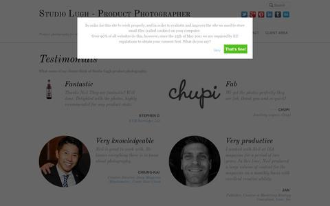 Screenshot of Testimonials Page studiolugh.com - Testimonials - Studio Lugh - Product Photographer - captured Oct. 9, 2014