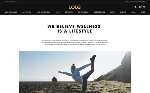 Screenshot of About Page lolewomen.com - About                      – Lolë - captured Feb. 4, 2018