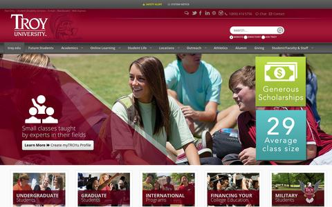Screenshot of Home Page troy.edu - A Quality Education, An Amazing College Experience. In Class, Online, Within Reach - captured Oct. 1, 2015