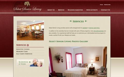 Screenshot of Services Page selectseniorliving.net - Services – Assisted Living, Independent Living, Memory Care, Ala Carte Services - captured Oct. 7, 2014