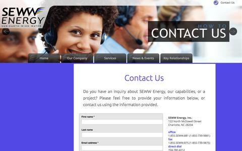 Screenshot of Contact Page sewwenergy.com captured Aug. 2, 2015