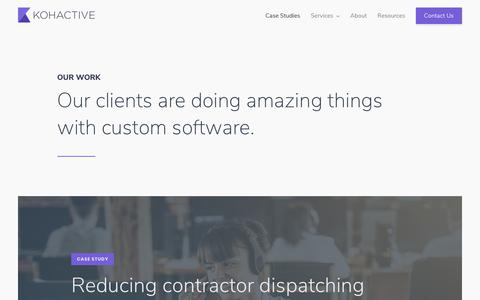 Screenshot of Case Studies Page kohactive.com - Our Work - Custom Product Design & Development | Kohactive - captured Dec. 27, 2018