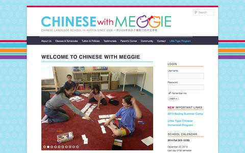 Screenshot of Home Page chinesewithmeggie.com - Welcome to Chinese With Meggie Language School in Austin, Texas - captured Dec. 18, 2014