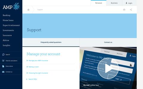 Screenshot of Contact Page amp.com.au - Support - AMP - captured Oct. 3, 2015