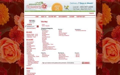Screenshot of Site Map Page azfreshflowers.com - Site Map - Phoenix Flowers and Arizona Flowers - Online Flower Delivery in Arizona, FTD Florist in Arizona, Arizona Florists and Phoenix Florist AZ - captured Oct. 4, 2014
