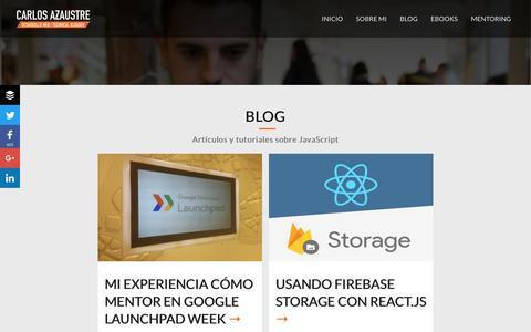 Screenshot of Blog carlosazaustre.es - Carlos Azaustre | Artículos y Tutoriales sobre React.js y Node.js - captured Nov. 15, 2016