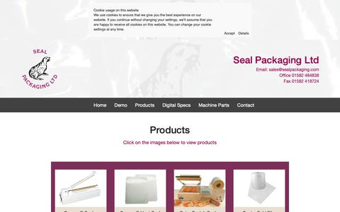 Screenshot of Products Page sealpackaging.co.uk - Products & Sealers - Seal Packaging Ltd - captured Nov. 27, 2018