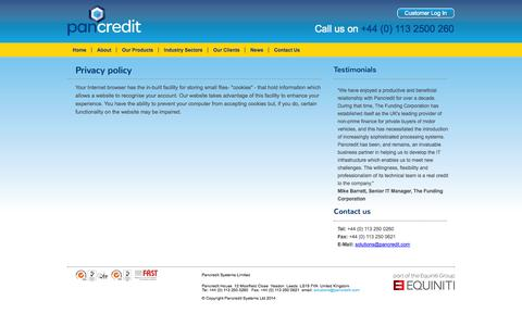 Screenshot of Privacy Page pancredit.co.uk - Privacy policy -Pancredit - captured Sept. 29, 2014
