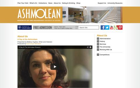 Screenshot of About Page ashmolean.org - About the Museum - Ashmolean Museum - captured Oct. 1, 2014