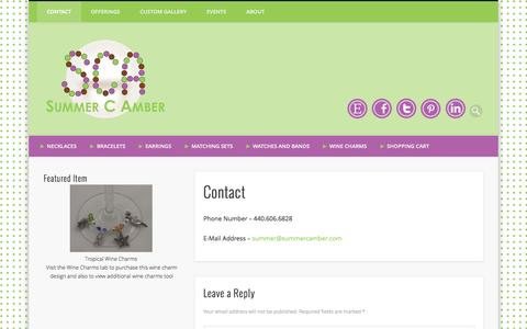 Screenshot of Contact Page summercamber.com - Contact - captured Oct. 8, 2014