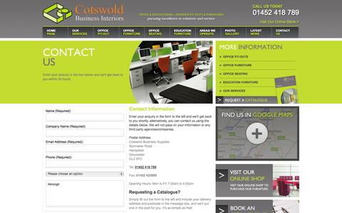 Screenshot of Contact Page cotswoldbusinessinteriors.co.uk - Contact Us - Cotswold - captured Sept. 30, 2014
