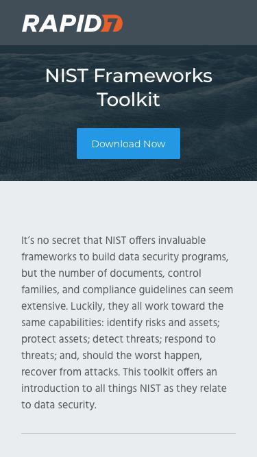Screenshot of Landing Page  rapid7.com - NIST Framework Toolkit