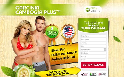 Screenshot of Landing Page apexgarcinia.com - Garcinia Cambogia - 100% Natural Weight Loss Solution | APEXVITALITY Inc. - captured Oct. 27, 2014